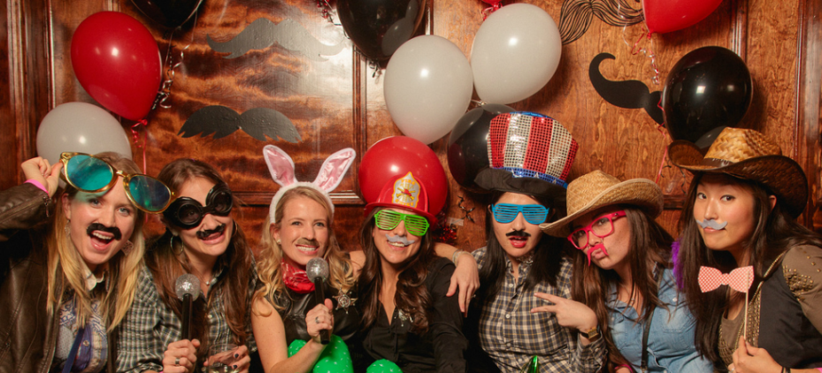 Photo booth at Mustacio Bashio Party where all proceeds went to UPenn's Abramson Cancer Center