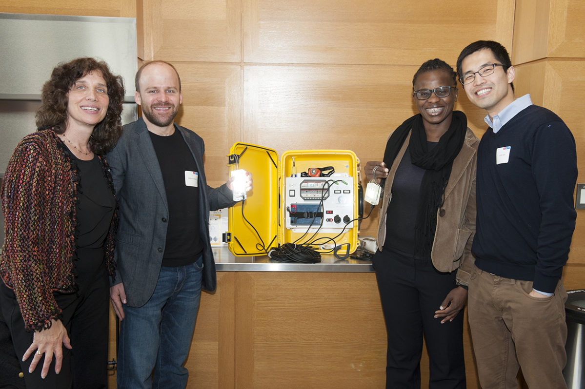 Right: Laura E. Stachel, Executive Director of We Care Solar; Jordan D'Olier, Lipman Fellow; Akudo Ejelonu, Lipman Fellow; Jason Han, Lipman Fellow.