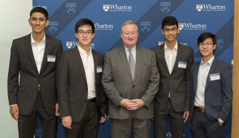 Ameya Shiva, Johnathan Chen, Mayor Kenney, Tanmay Chordia, and Jeffrey Cheng.