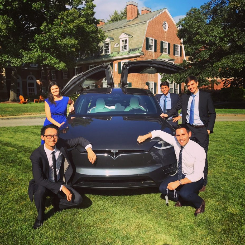 Shawn along with teammates on the winning Wharton team at the 1st Tesla Case Competition