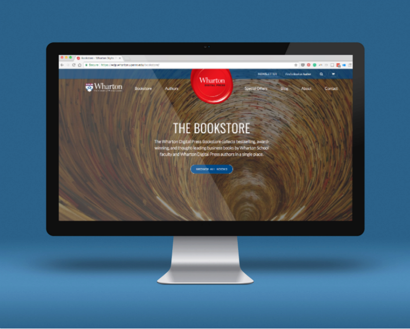 "A computer screen with a browser open to ""The Bookstore"" with Wharton at the top in a red ink mark seal. Background is blue."