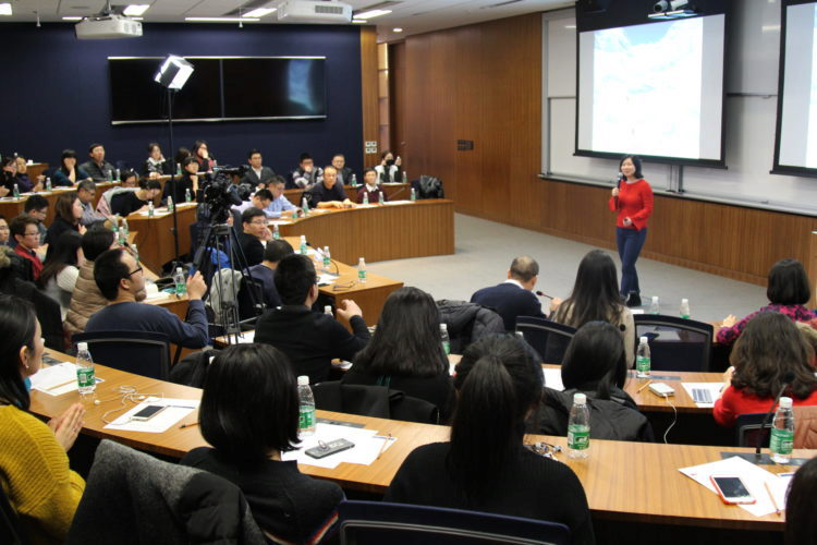 Lei Wang speaks to Wharton alumni in Beijing about her Adventure Grand Slam. (Photo: Penn Wharton China Center)