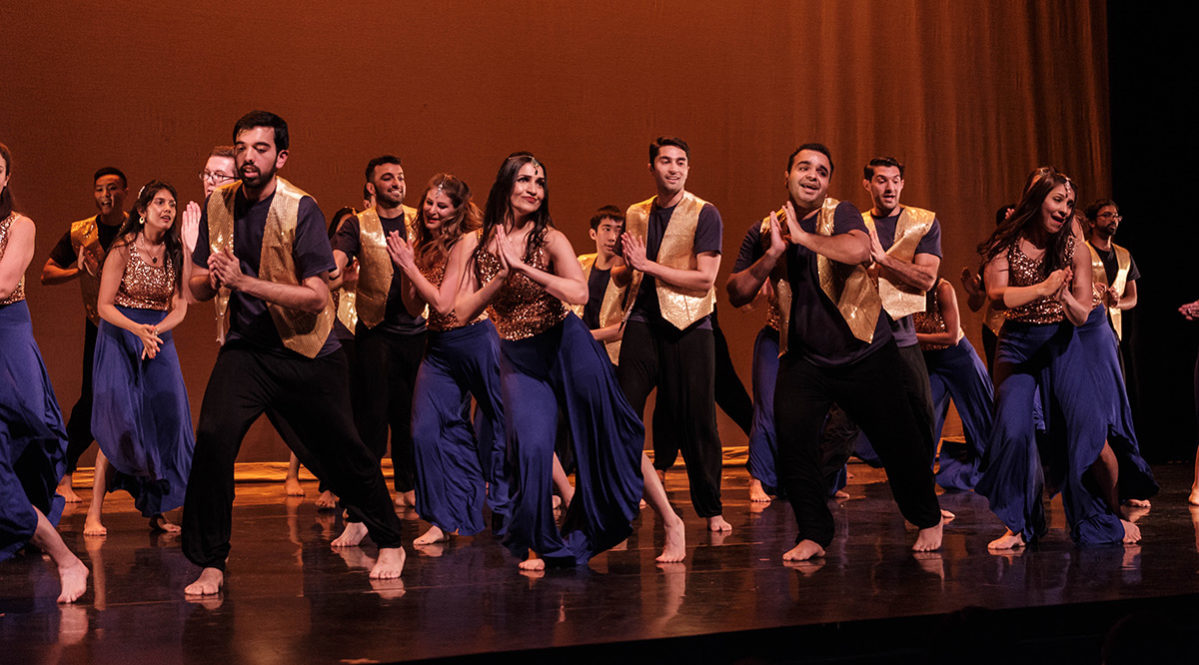 Karan Dhruve performing in the Wharton International Dance Show, front row, second from right