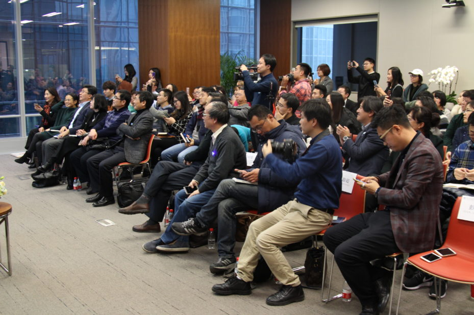 Audience and media outlets at Winter Peng's book launch at the Penn Wharton China Center