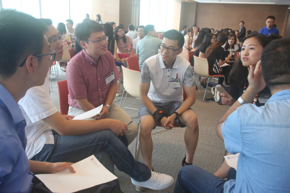 Participating in Forerunner China, Penn graduate students Hong Zhang, Arts and Sciences, Lixu Wang, PennDesign, and Xia Qu, Penn Law, help to pre-orient admitted Penn students at the Penn Wharton China Center, July 2015.