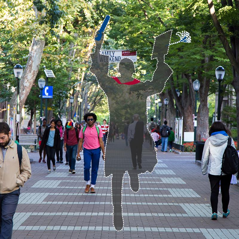Graduate silhouette on Locust Walk
