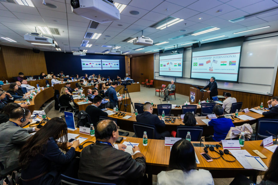 In a large classroom at the Penn Wharton China Center, scholars from Penn's Fox Leadership International program and Kleinman Center for Energy Policy present work in the area of U.S.-China energy and environmental cooperation as part of the Dimensions of U.S.-China Leadership conference in Oct. 2016.