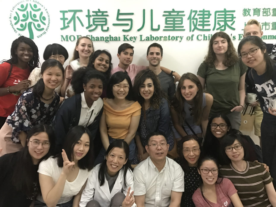 Penn Nursing students with graduate students from Jiao Tong University at Shanghai's Key Laboratory of Environmental and Children Health. Pictured center bottom row are, left to right, Shanghai Jiao Tong University's Jian Xu and Chong-Haui Yan, and Penn's Jianhong Liu.