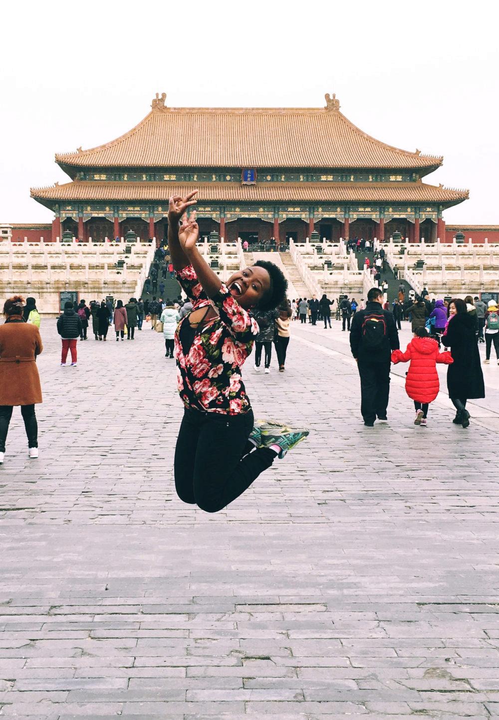Junior Liliane Kevine Ikirezi, from Kigali, Rwanda, at the Forbidden City in Beijing.