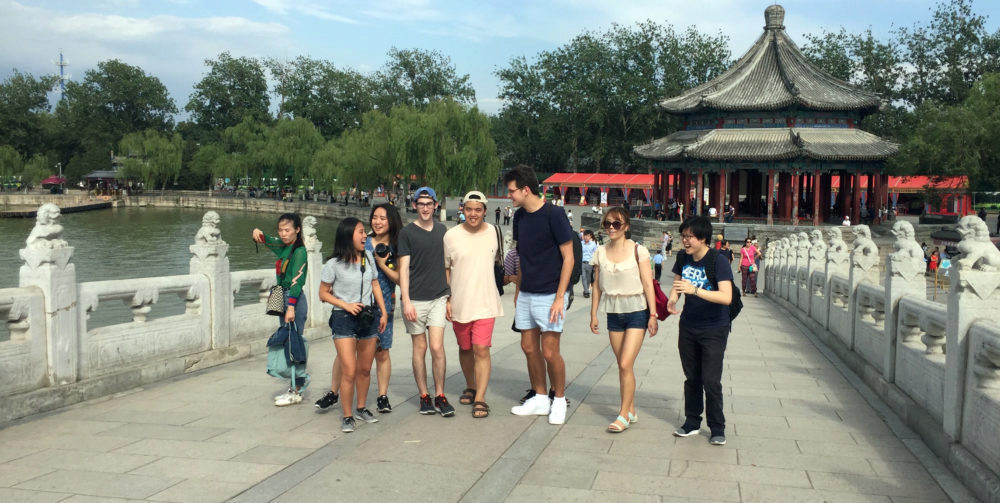 Left to right, Danielle Goh, Joy Lee, Karen Yang, Nick Hunsicker, Gene Pak, Nick Joyner, Youlim Lee, and Skylar Tang visit the summer palace, Beijing.