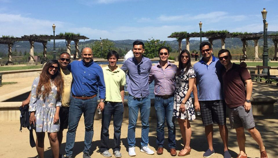 Chad Liu with classmates during a trip to Napa