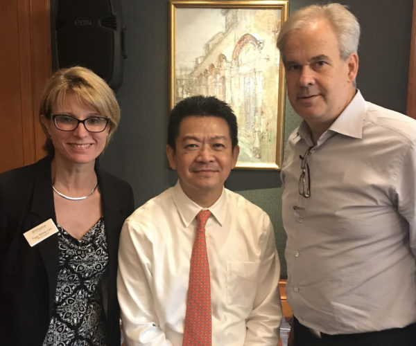 Vice Dean Peggy Bishop Lane, Yong Kwek Ping, founder of PE firm Inventis, and David Erickson on Global Business Week in China