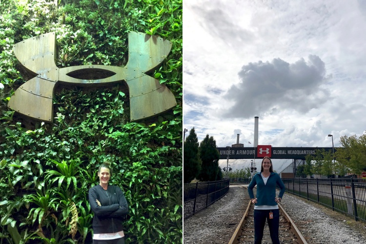 Two images of Samantha standing in front of Under Armour logos, one on a leafy wall the other over a railroad.