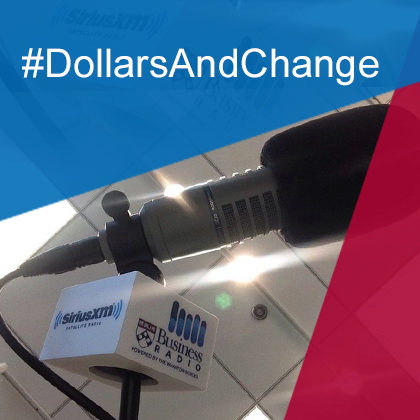 Icon representing the Dollars and Change podcast, with photograph of a microphone that has a SiriusXM Business Radio logo