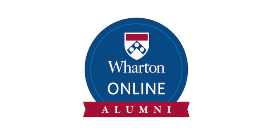 Wharton Online Alumni logo with Penn insignia in a blue circle and alumni on a red banner underneath