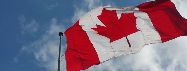 The Canadian flag waves in the wind