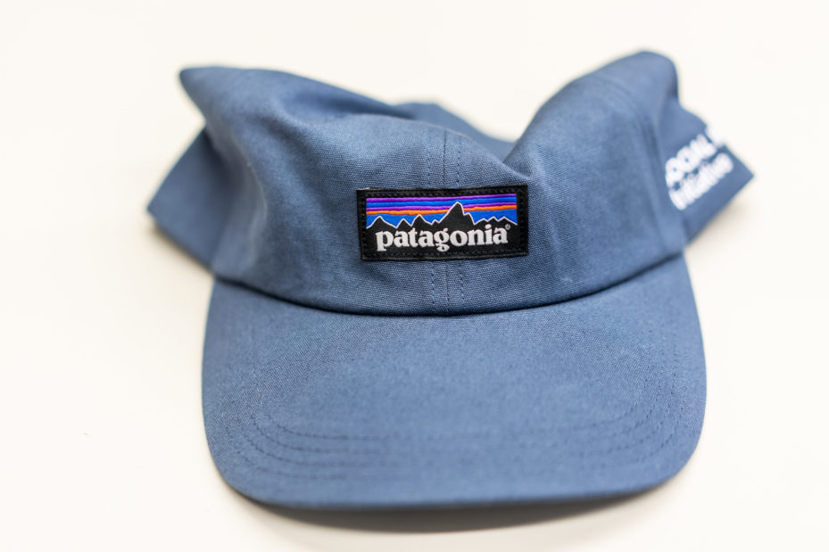 denim blue hat with patagonia logo