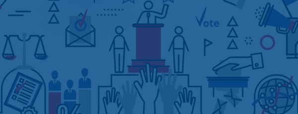 A blue graphic with various political images such as raised hands, scales, and person speaking at a podium.