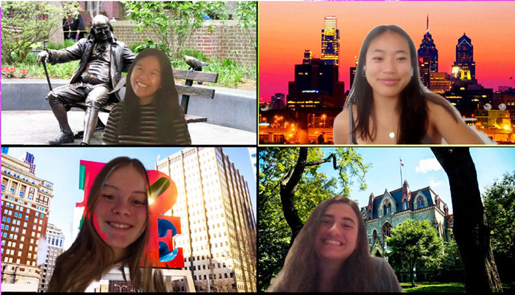 Students in front of different Penn-themed Zoom backgrounds