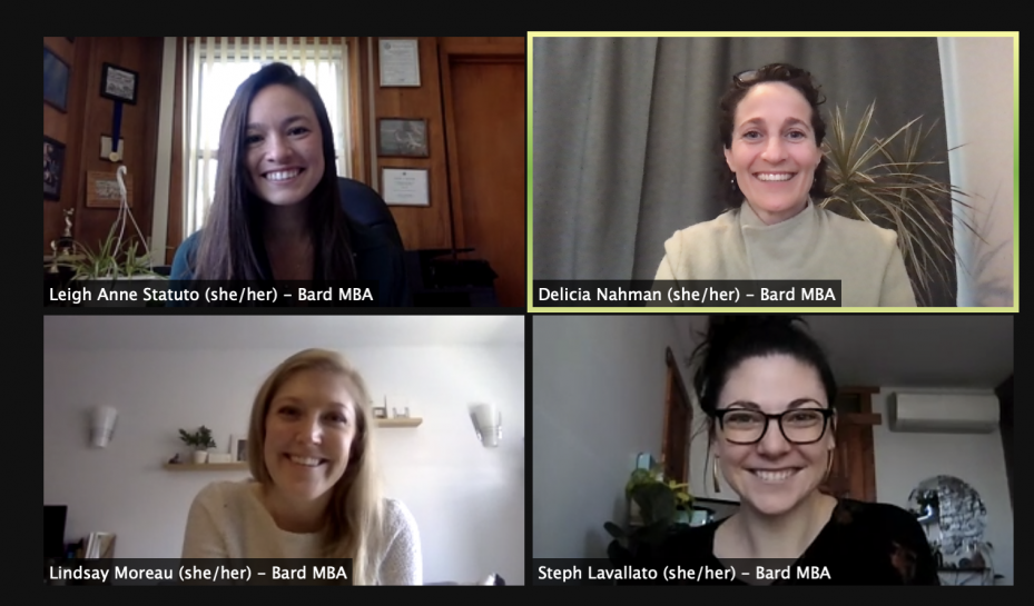 Zoom call screenshot of four Bard MBA students
