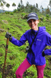 Kristal at the Rwanda Volcanoes National Park, where she went on a Gorilla trek with Wharton classmates