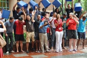 Pushpak and classmates participating in the Ice Bucket Challenge