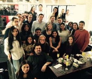 Pushpak with classmates and their partners at Sunday brunch in New York City