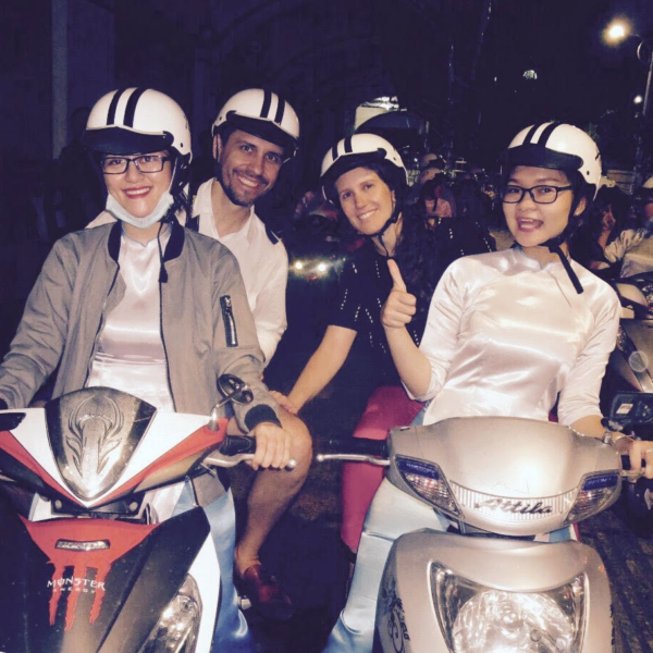 Tatiana and classmates on motorbikes
